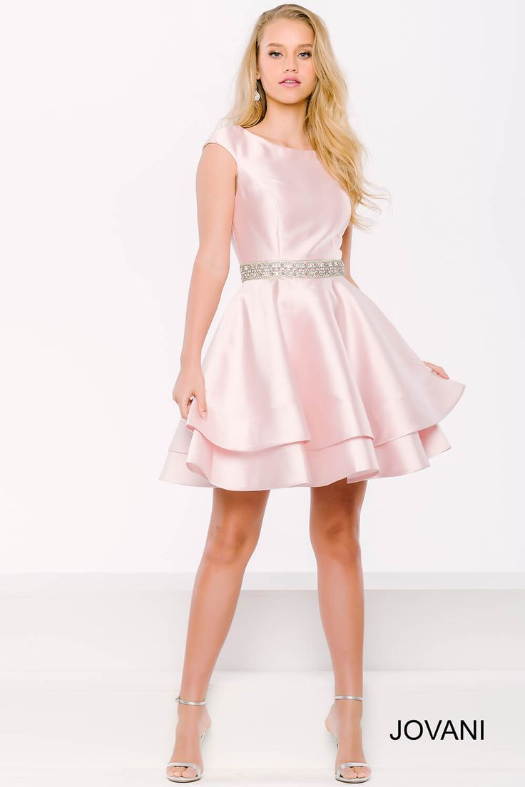 Look like a princess in this #jovani 41184 pink satin dress.