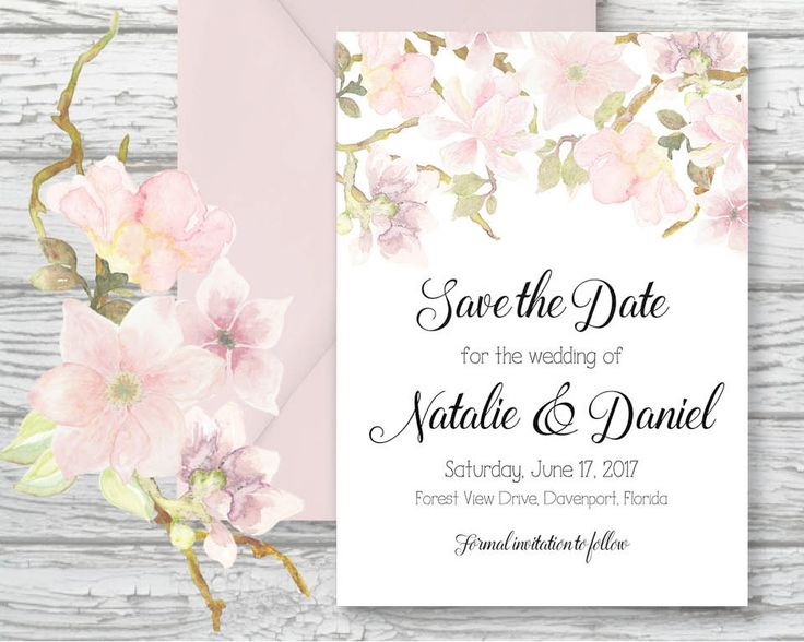 Save the Date; hand painted watercolor blush Magnolias; DIY print; includes custom text; printable wedding stationery by LollysLaneShoppe on Etsy
