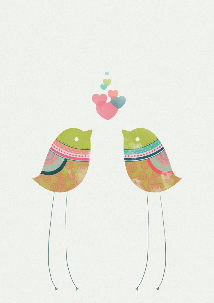 Colourful patterned Love Bird Illustration, Limited Edition Art Prints by CTIllustration. £13.00, via Etsy.
