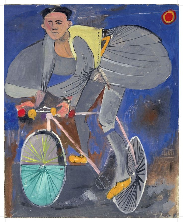 "Poster-Yannis Tsarouchis - ""Cyclist dressed as an evzone with a temple at bottom right, 1936. Oil on canvas. © Yannis Tsarouchis foundation Dimensions: 50x70 cm"