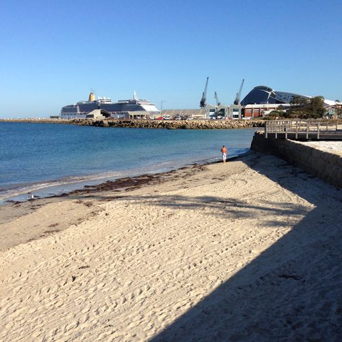 Bathers Beach towards the port, the WA Maritime Museum and harbour mouth, Fremantle, WA