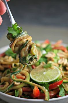 Thai Peanut Zoodles, all the flavor of pad thai without all the carbs! ~vegan~