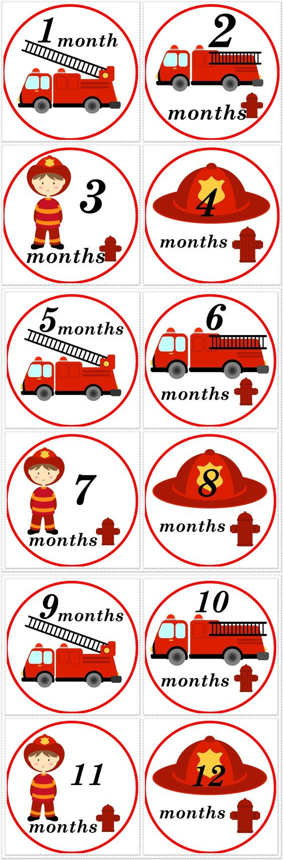 FiremanFirefighter Monthly Birthday by SnuggleBugBabyandMe on Etsy, $9.00