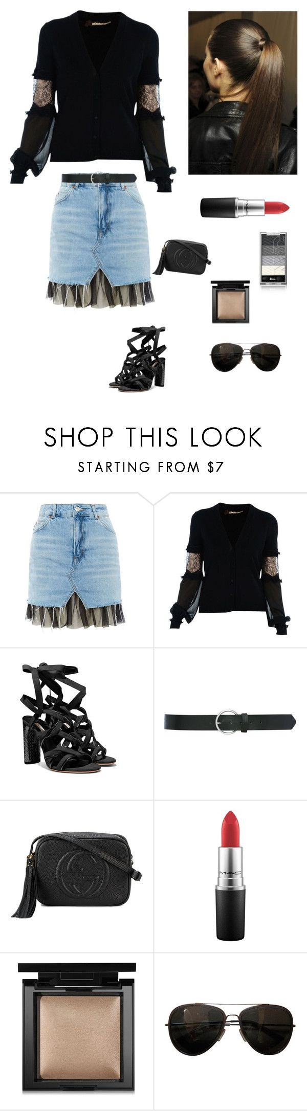"""""""Summer Ponytail"""" by kotnourka ❤ liked on Polyvore featuring Topshop, Roberto Cavalli, M&Co, Gucci, MAC Cosmetics, Bare Escentuals and Tod's"""