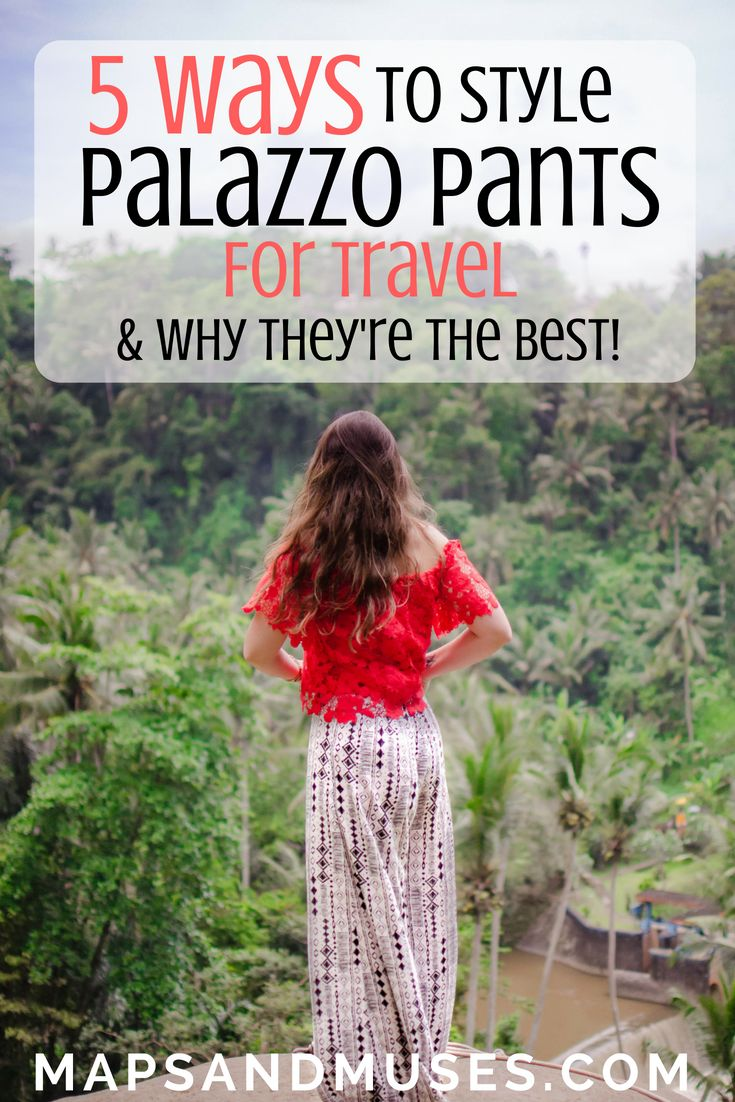 Not sure what type of pants to pack for your next trip? Check out why I think palazzo pants are the best kind of pants for travel and 5 ways to style palazzo pants when you're traveling: https://www.mapsandmuses.com/5-ways-to-style-palazzo-pants-for-travel/  Palazzo Pants Outfit | Palazzo Pants | Palazzo Pants Outfit Summer | Travel Tips | Travel Style | Travel Outfit | Style Inspiration | Fashion Outfits | Outfits | Outfit Ideas | Style Tips #outfitideas #outfits #travelblog…