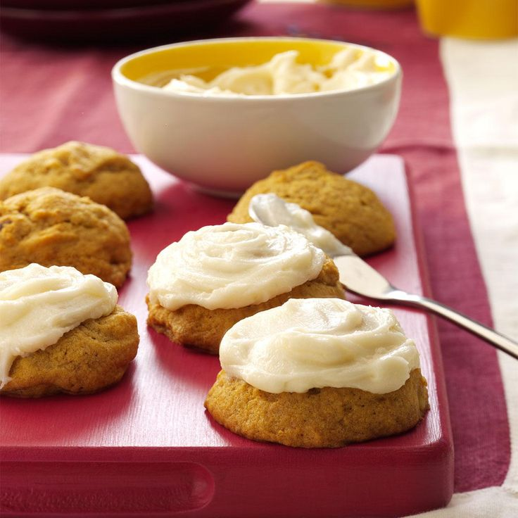 Pumpkin Cookies with Cream Cheese Frosting Recipe -A classic cream cheese frosting tops pleasantly spiced pumpkin cookies. Everyone enjoys the soft, cake-like texture.—Lisa Chernetsky, Luzerne, Pennsylvania