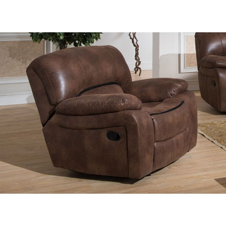 AC Pacific Leighton Leather/Steel Transitional Glider Reclining Chair