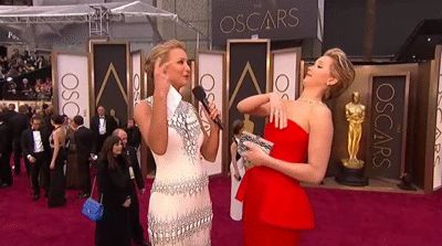 When she swatted a fly away during a red carpet interview.