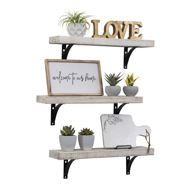 Industrial Grace Simple Urban Bracket Shelves Set Of 3 24 Inch Walmart Com In 2020 Wall Shelves Small Apartment Decorating Shelves