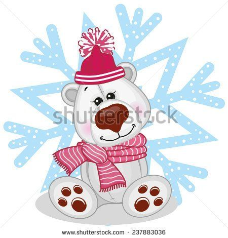 Polar Bear in a fur hat on the background of snowflake