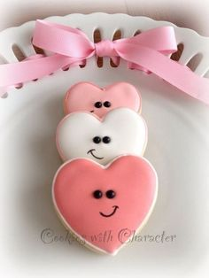 Heart Shaped Cookies with Character