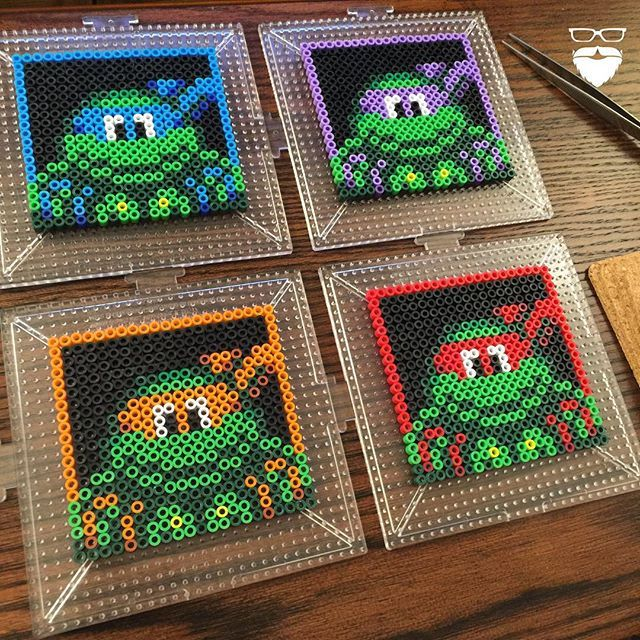 TMNT coasters perler beads by Pierce Pop Art