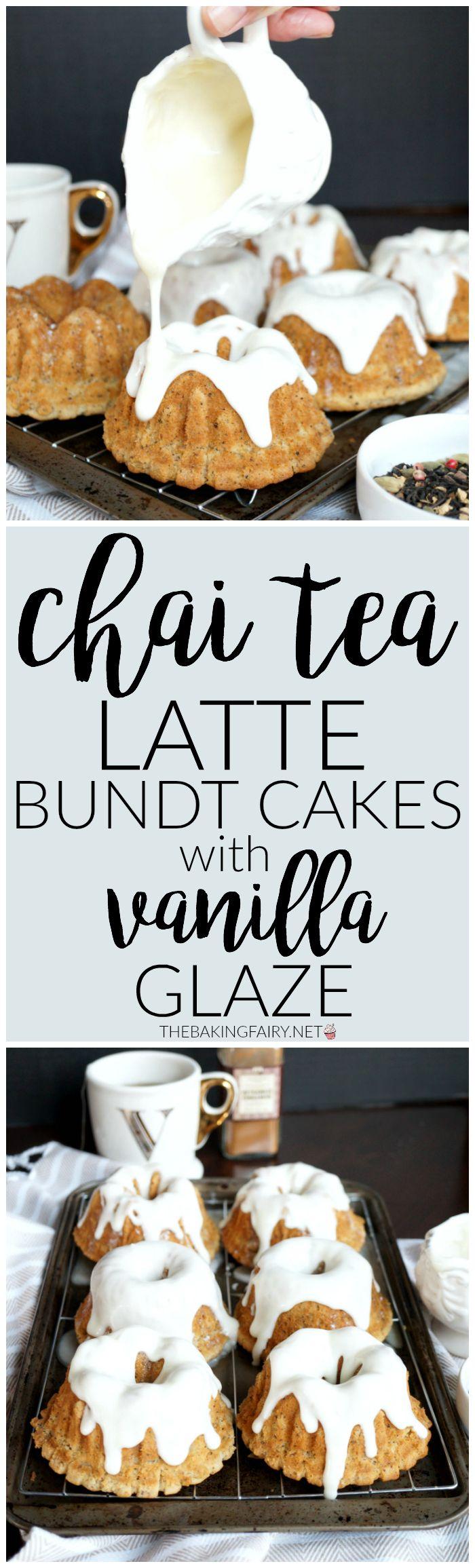 chai tea latte bundt cakes with vanilla glaze   The Baking Fairy