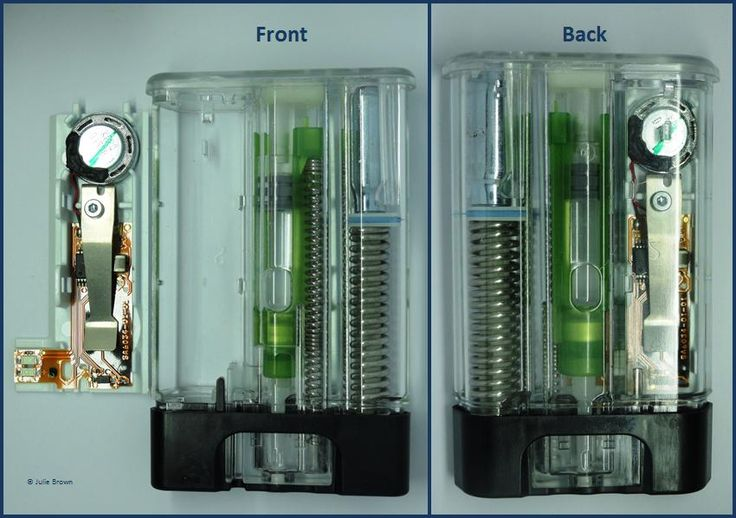 This clear-shelled Auvi-Q reveals the intelligent design inside.  The larger spring and attached pin (not visible) pierces the canister, releasing the argon gas that propels the needle (replaced by plastic in this model) and epinephrine.  When fully injected, release of the gas from the upper compartment allows the smaller spring to retract the needle, all in less than 2 seconds.