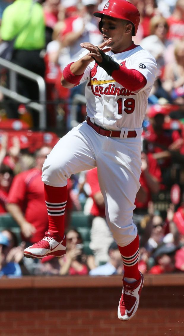 St. Louis Cardinals' Jon Jay reacts after scoring on a double by Matt Carpenter in first inning action during a game between the St. Louis Cardinals and the Philadelphia Phillies on Thursday, April 30, 2015, at Busch Stadium in St. Louis. Photo by Chris Lee, clee@post-dispatch.comCardinals v Phillies