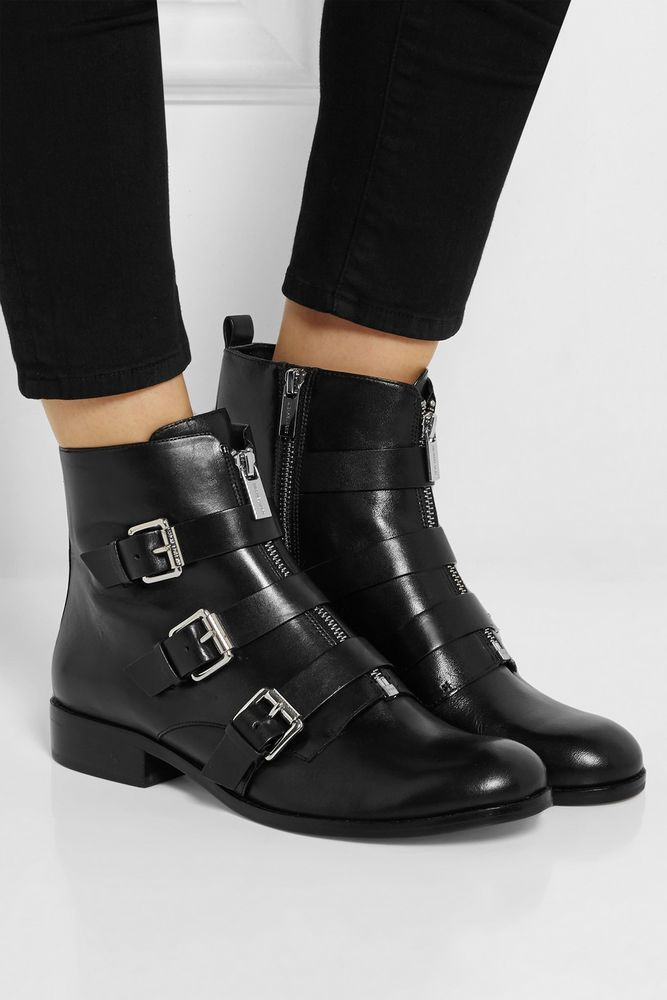 b61f03892bad MICHAEL KORS ANYA ANKLE BOOTS 7.5 Black Biker Moto Booties Net a Porter  Shoes  MichaelKors  MotorcycleBoots  Any