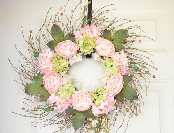 Pink Rose Wreath Pink Spring Wreath Front Door by laurelsbylaurie