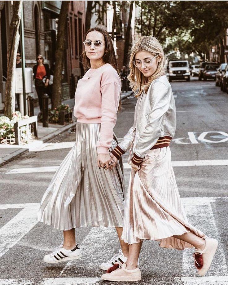 We love metallic skirts with cool sneakers  #josefinasportugal
