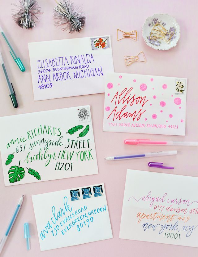 DIY Colorful Envelope Address Ideas with Sakura of America Glaze and Soufflé Pens / Oh So Beautiful Paper