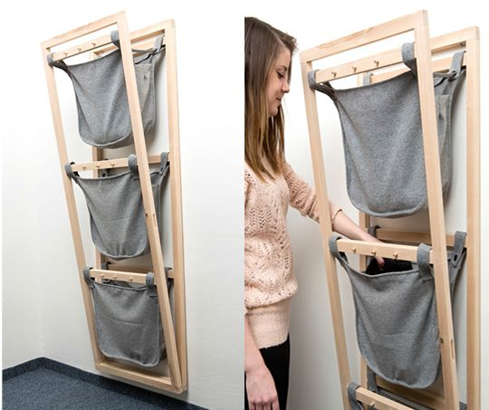 """Brilliant mechanism using wool as pockets but also as a strong material that can bind wood - """"Fold Out Rack"""" by Martina Chlebničanová"""