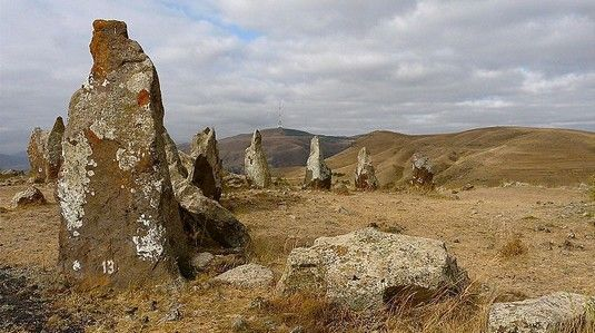 "Karahunj in present-day Armenia is similar to Stonehenge - a huge circle of ancient megaliths - but thousands of years older. Holes in the Karahunj megaliths seem to point to the constellation Signus, which in many ancient cultures was the point of entry to the ""sky world""."