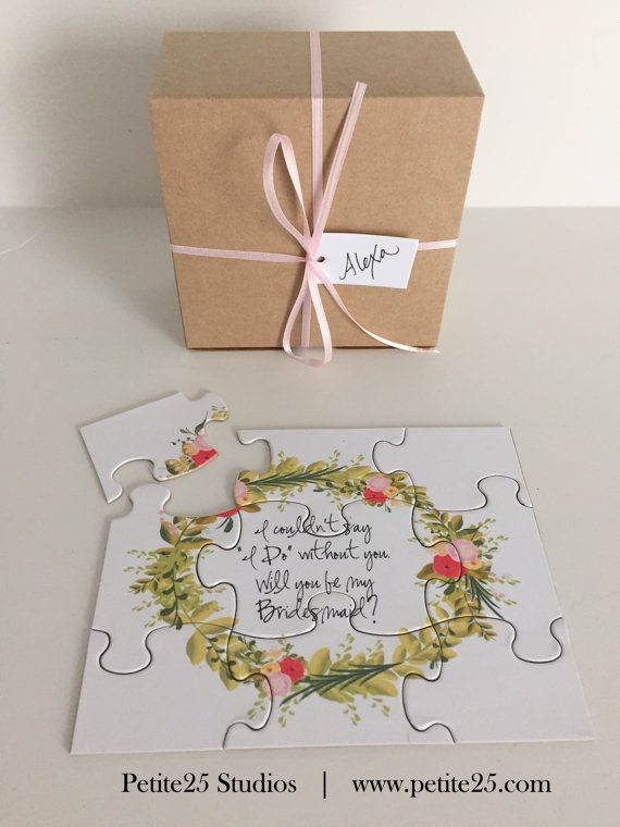 PUZZLE- Will You Be my Bridesmaid? A beautiful and fun way to ask your besties to stand by your side. Available in 7 designs from Petite25 Studios at www.petite25.com