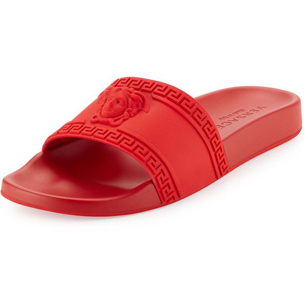 Versace Medusa-Head Slide Sandal ($295) ❤ liked on Polyvore featuring men's fashion, men's shoes, men's sandals, red, versace mens shoes and mens red shoes