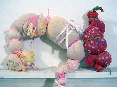 Object Lessons - Elizabeth HIggins O Connor 2006,   panty hose, blankets  knit Afghans, thread, yarn, wigs
