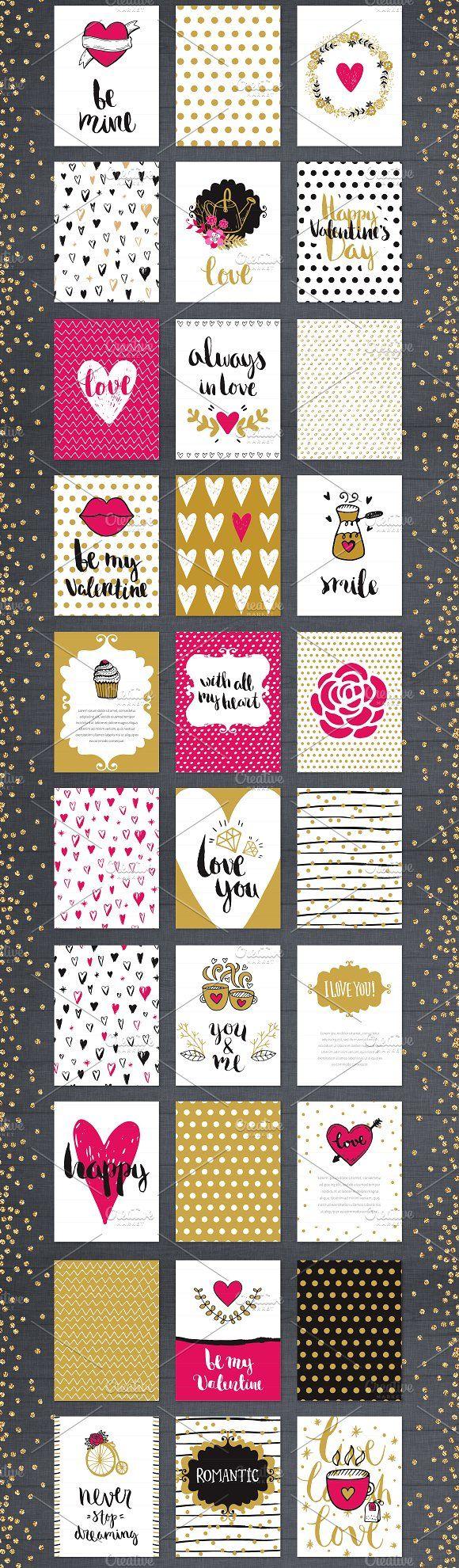 60 Valentine's Day Romantic Cards #1 - Illustrations