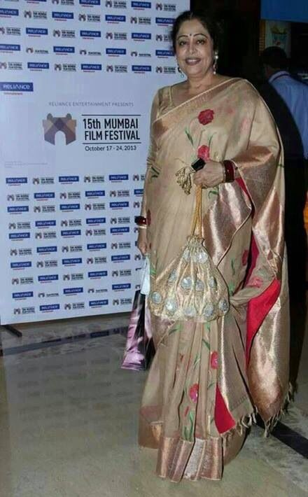 Kiron Kher in Gaurang Shah Saree. Description by Pinner Mahua Roy Chowdhury