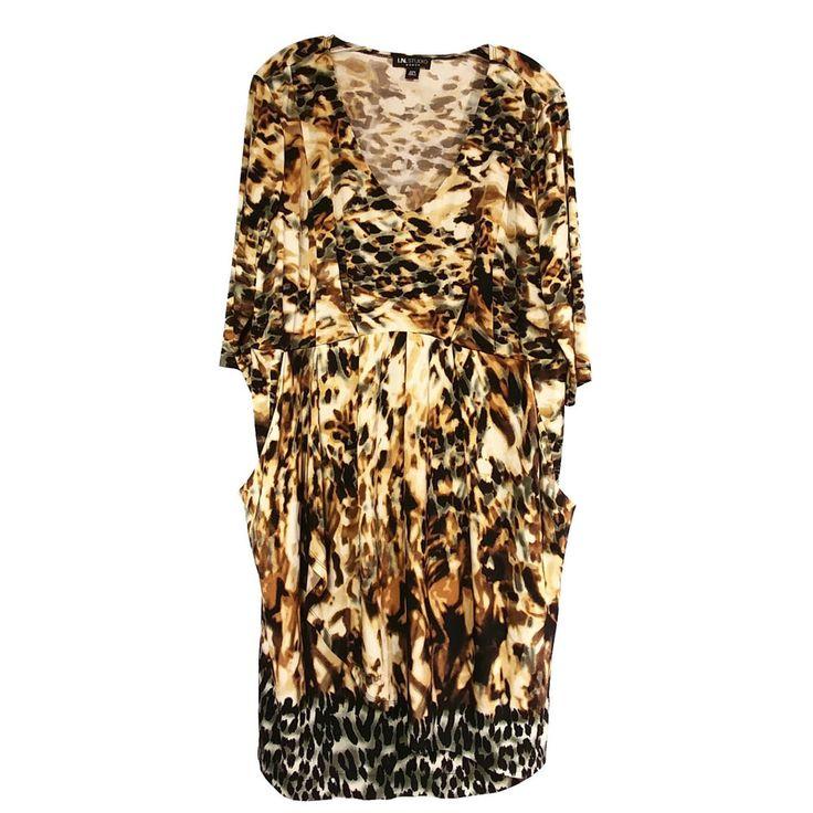 IN Studio Women's Plus Size Dress Sz 20W Animal Print Pockets Slinky Layered  #INStudio #Casual