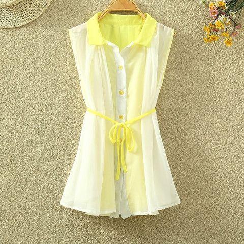 $23.00 | Summer fashion sleeveless chiffon shirt