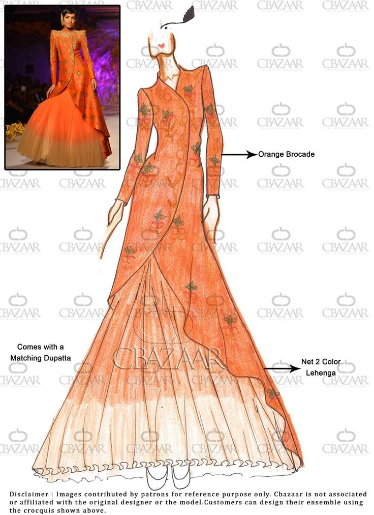 DIY Orange Brocade #Long Choli #Lehenga