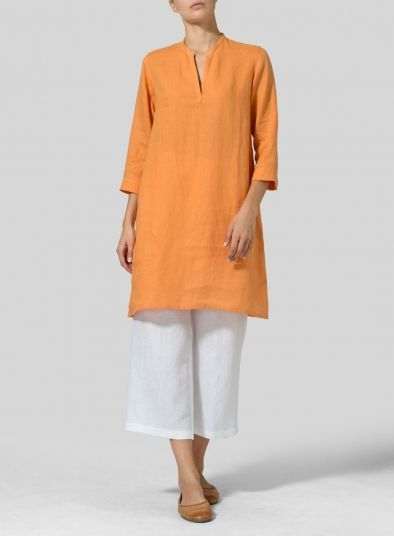 12b5732c25 Linen V-neck Mandarin Collar Tunic | Dress in 2019 | Mandarin collar ...