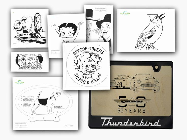 Try our Scroll Saw Picture/Portrait Patterns FREE!  We've assembled eight patterns in a sampler pack just for you; including a bird, dog leash holder, wildlife, cartoon, film stars, sign and vehicle.  Complete the sign-up at right for an immediate download. You will be taken to the location of the pattern package where you may view it and download it to your computer.
