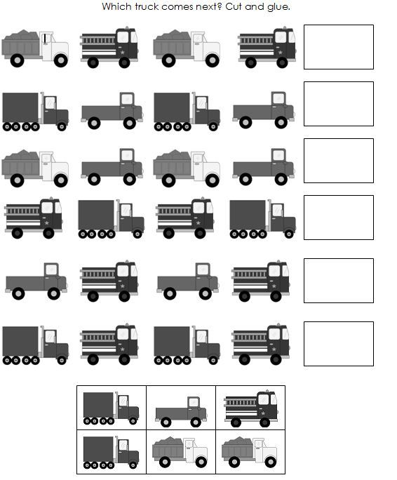 truck patterns worksheet 1 snip Printable pattern cards for preschool and kindergarten: Trucks!  dredging