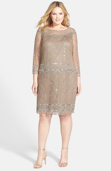 Shop 1920s Plus Size Dresses and Costumes : Pisarro Nights Beaded Great Gatsby Dress $198.00