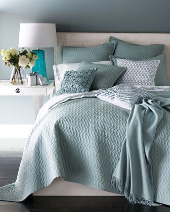 Add an element of texture with SFERRA Bradley quilt set - in 3 soft hues: Ocean, Butter, and Rose.