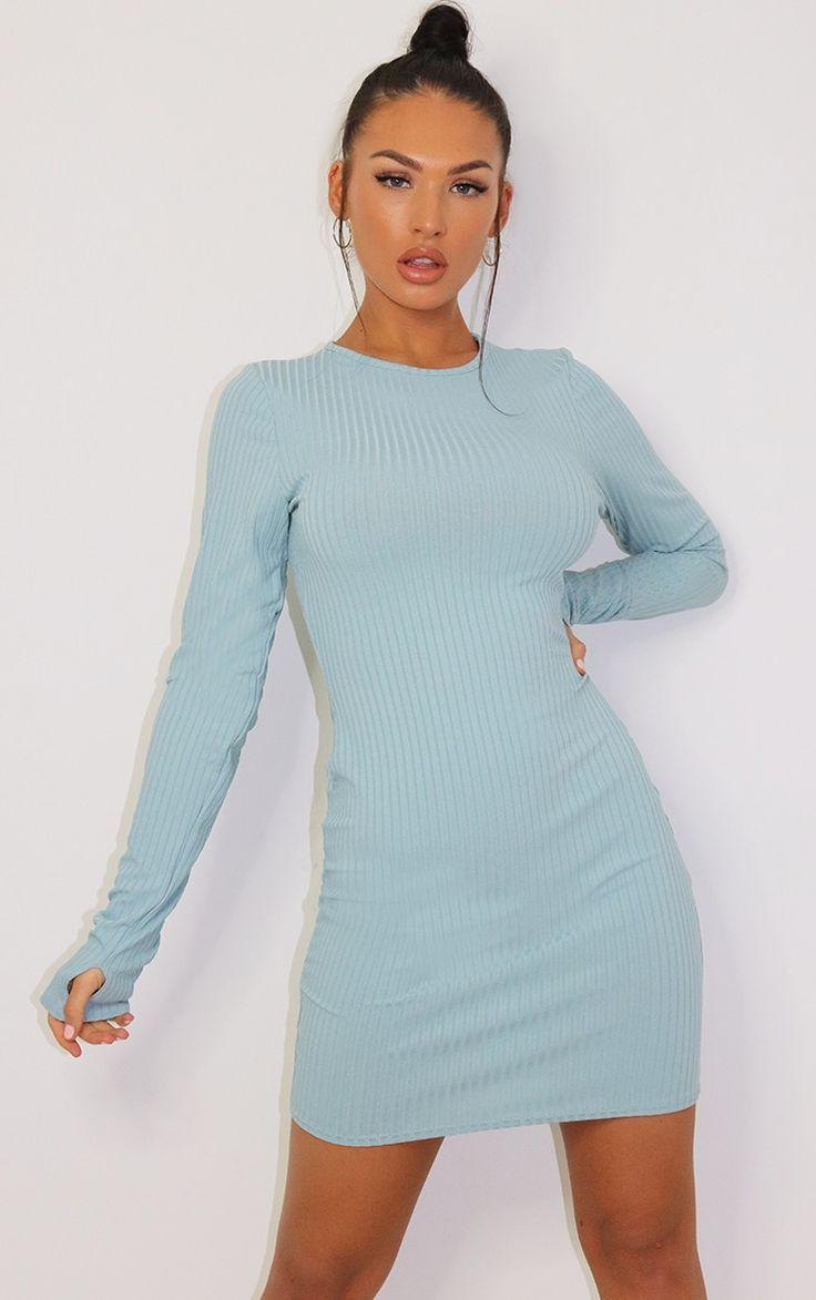 Mint Long Sleeve Thumb Hole Bodycon Dress Bodycon Dress Ribbed Maxi Dress Pleated Skater Dress [ 1173 x 736 Pixel ]