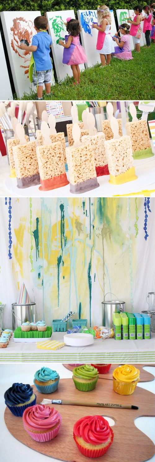 Paint/art Party ~ What a great idea for a kids party! And a great way to incorporate a rainbow theme too! Some great activity ideas using paint or other crafty things.. Mural, paint easels, blind painting (like pin-the-tail-on-the-donkey to try and colour in the lines), finger painting, sidewalk chalk, butchers paper and crayons on table, decorate cookies etc.. Then food ideas are also endless. Rainbow lollies, ice-creams on sticks called paint brushes, cupcakes, paint palettes, paint…