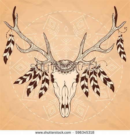 Vintage hand-drawn illustration with deer and feathers.Vector illustration for tribal design, invitation, web, textile, wallpaper.