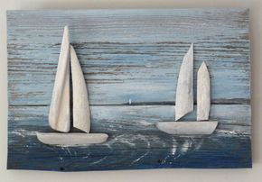 Driftwood picture of white sailed boats on от DriftwoodIntoDreams
