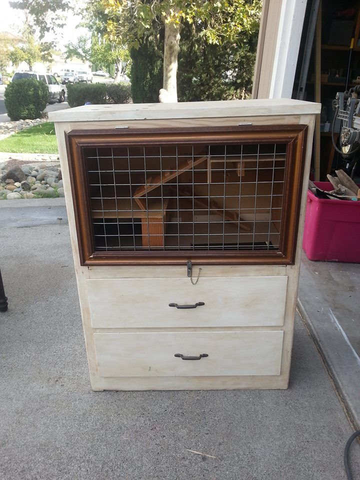 Dresser turned chinchilla home things i have upcycled or for Diy guinea pig cage from dresser