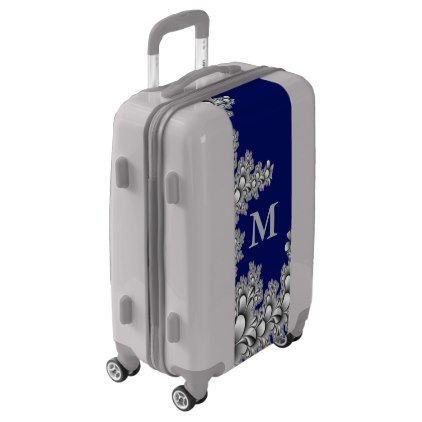 Blue and Gray Floral Painted Fractals Monogram Luggage - monogram gifts unique design style monogrammed diy cyo customize