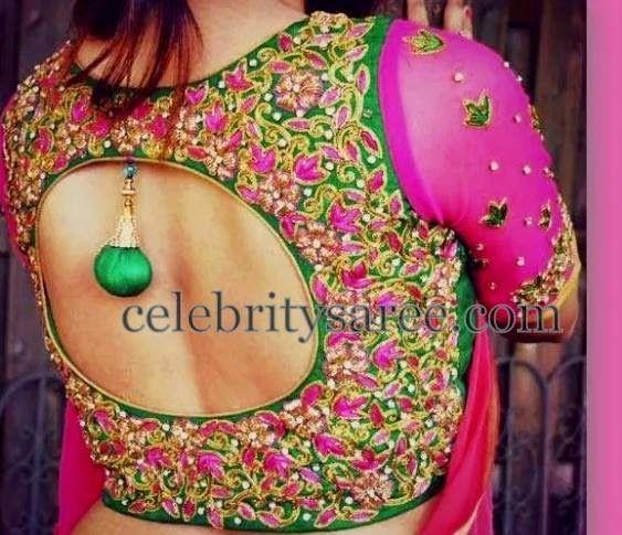 Pot Neck Thread Work Blouse | Saree Blouse Patterns