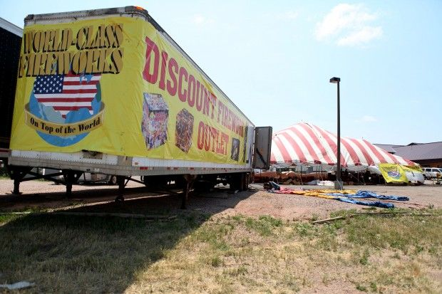 Discount Fireworks Outlet on Interstate 90. Sales have been down due to the ban on fireworks.
