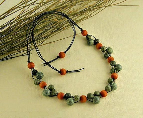 Multi Strand Necklace serpentinite jewelry necklace by styledonna