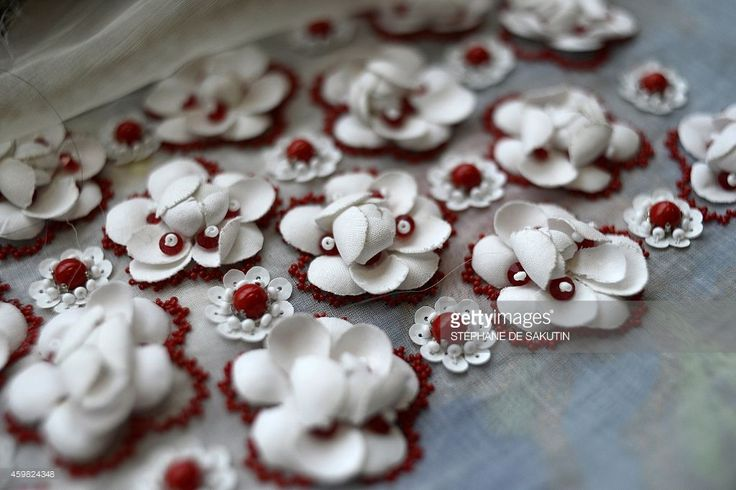 A picture taken on November 24, 2014 shows an embroidery by Lesage's house at Chanel's workshops in Pantin, north of Paris. AFP PHOTO / STEPHANE DE SAKUTIN