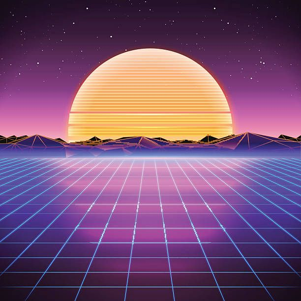 80s Retro Sci Fi Background With Sunset Vector Retro Futuristic Sci Fi Background Synthwave Art Sci Fi Wallpaper
