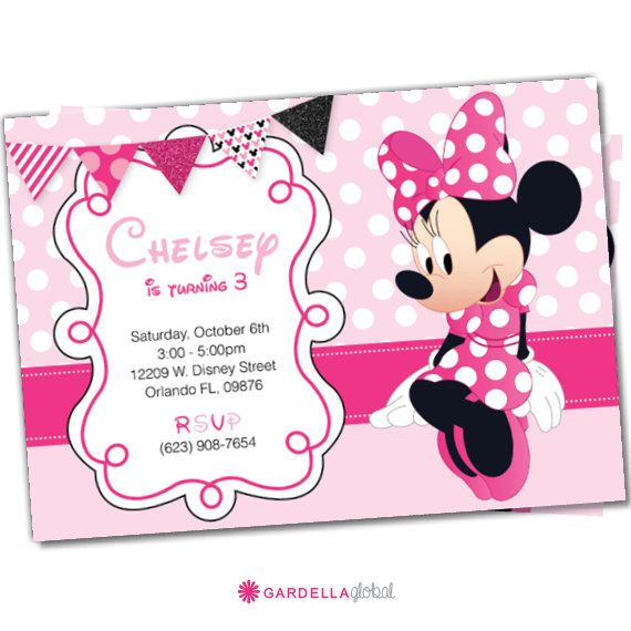 Minnie Mouse invitations Minnie Mouse Party by GardellaGlobal